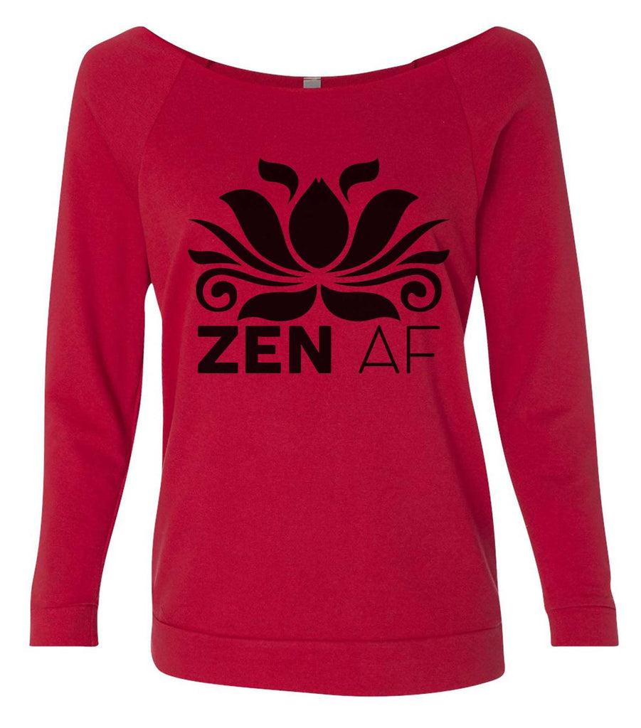 Zen AF 3/4 Sleeve Raw Edge French Terry Cut - Dolman Style Very Trendy Funny Shirt Small / Red