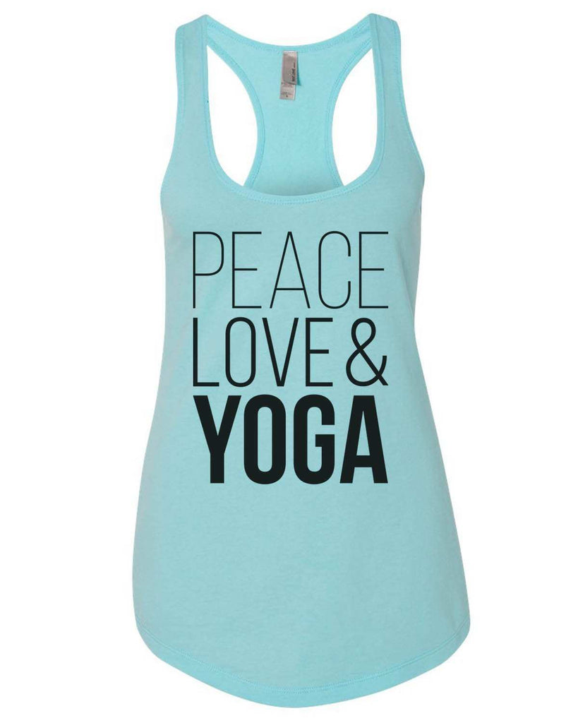 Peace Love Yoga Womens Workout Tank Top - 5000 Funny Shirt Small / Lilac