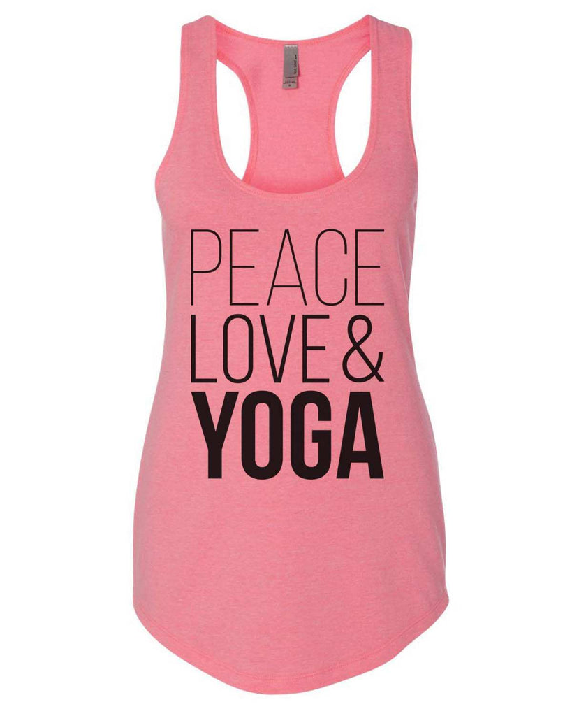 Peace Love Yoga Womens Workout Tank Top - 5000 Funny Shirt Small / Heather Pink