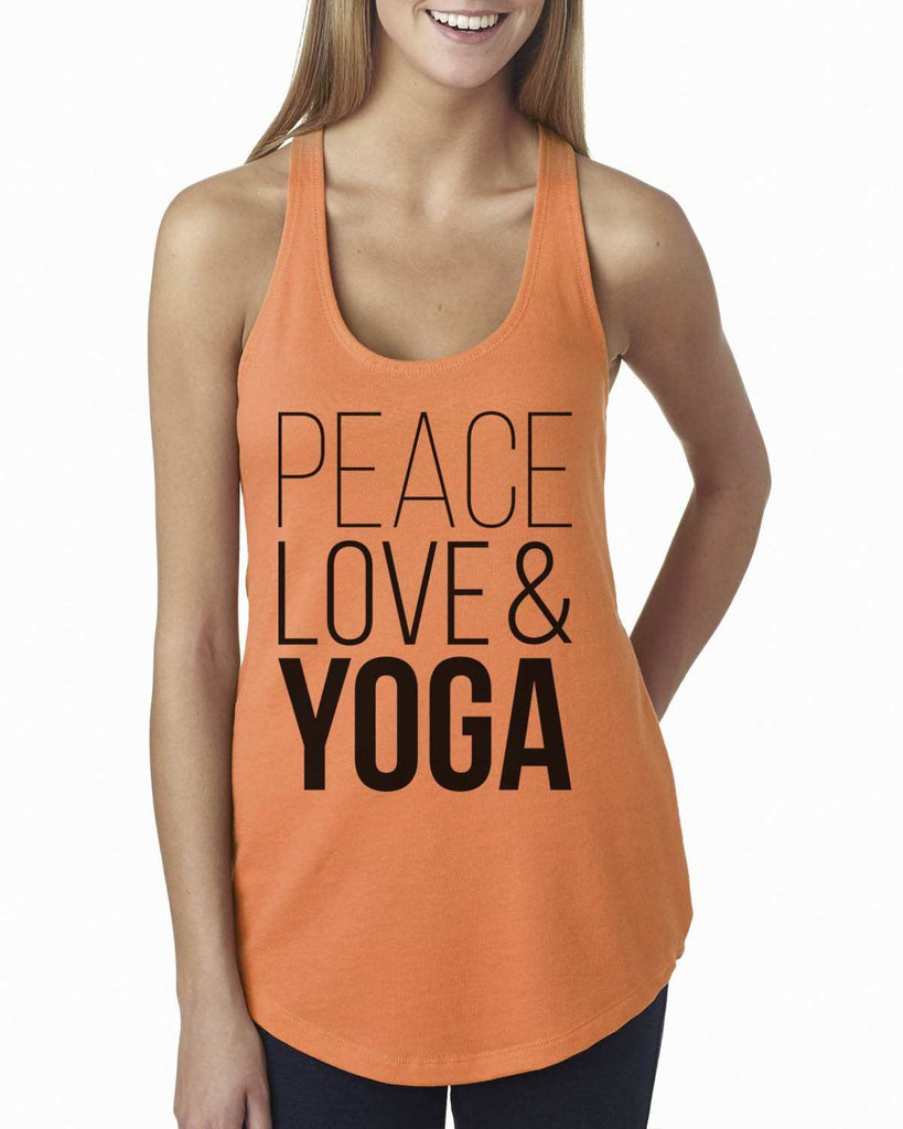 Peace Love Yoga Womens Workout Tank Top - 5000 Funny Shirt