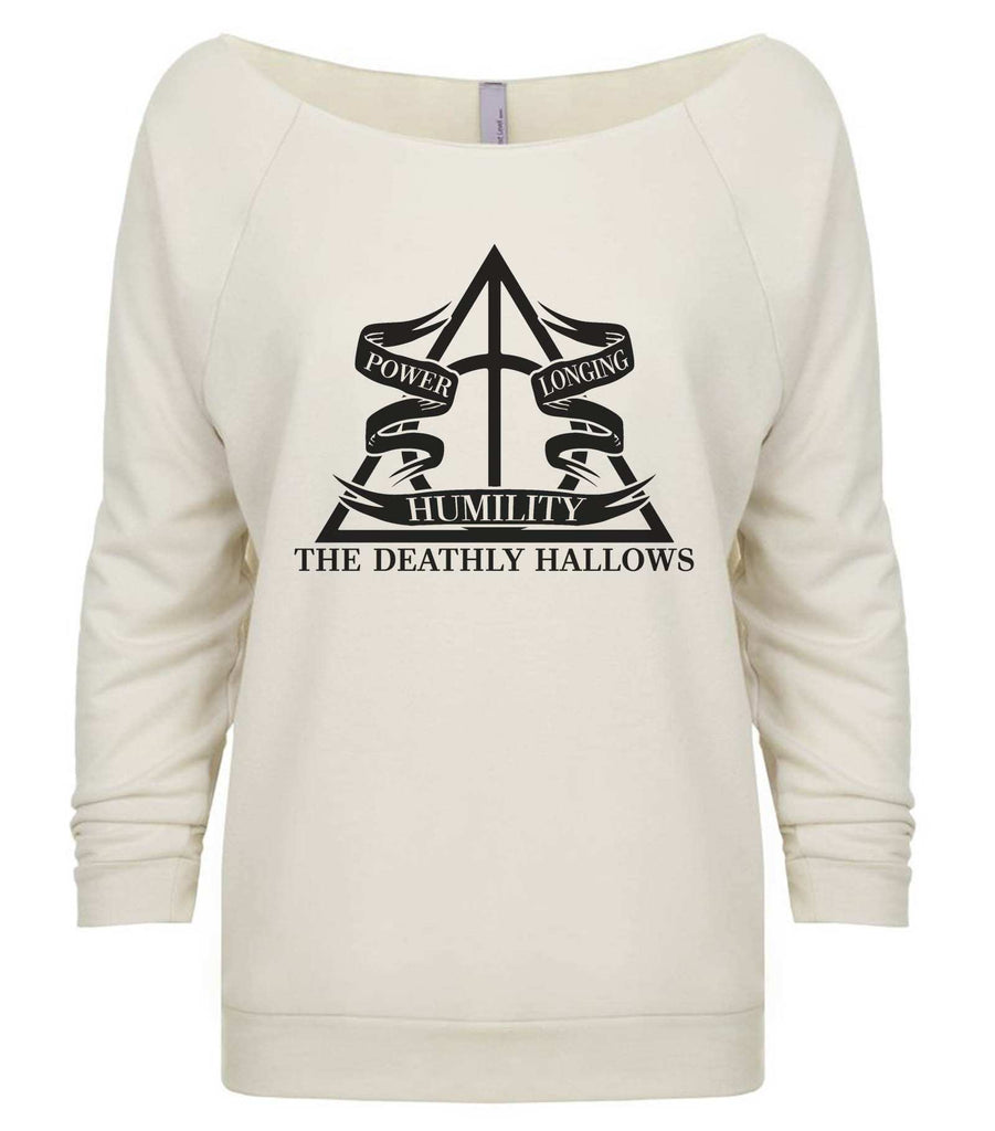 Harry Potter The Deathly Hallows 3/4 Sleeve Raw Edge French Terry Cut - Dolman Style Very Trendy Funny Shirt Small / Beige