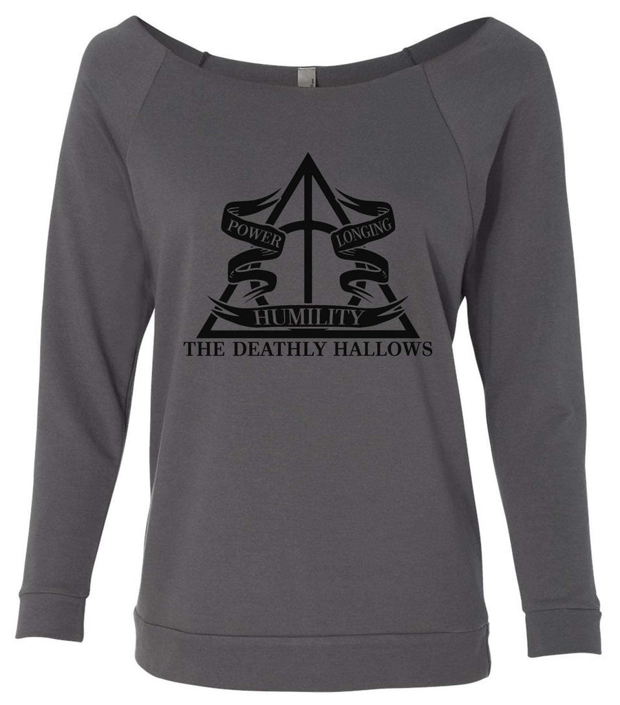 Harry Potter The Deathly Hallows 3/4 Sleeve Raw Edge French Terry Cut - Dolman Style Very Trendy Funny Shirt Small / Charcoal Dark Gray