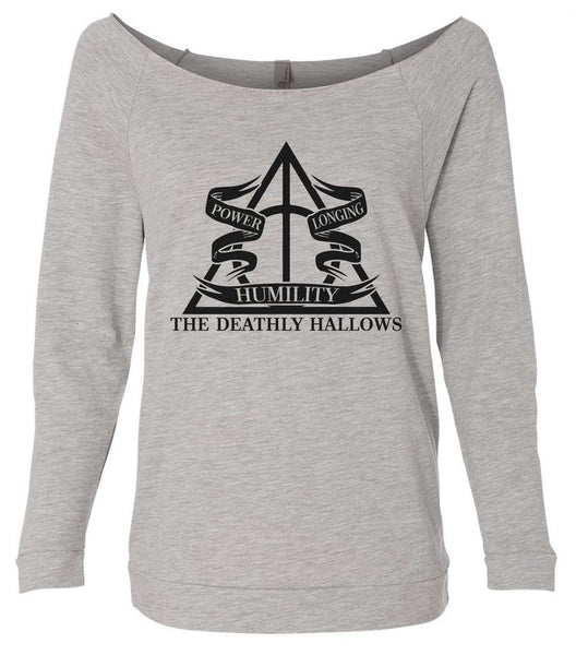 Harry Potter The Deathly Hallows 3/4 Sleeve Raw Edge French Terry Cut - Dolman Style Very Trendy Funny Shirt Small / Grey