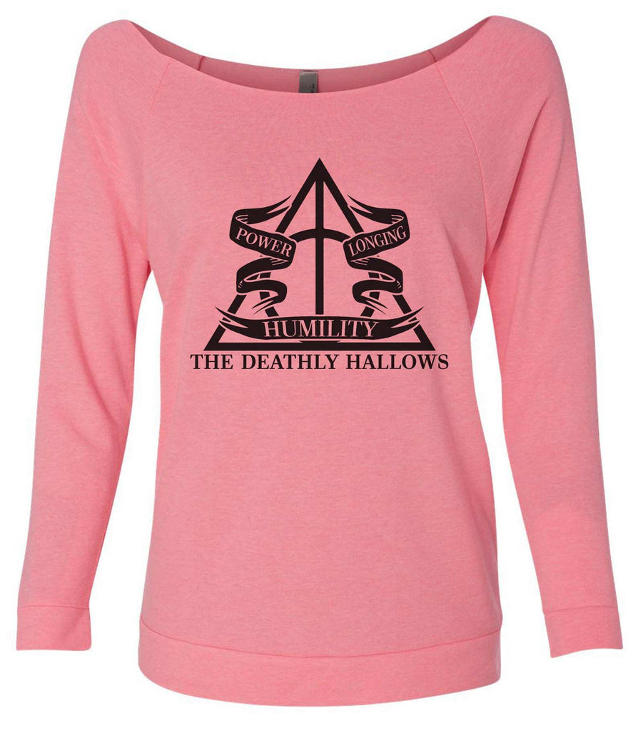 Harry Potter The Deathly Hallows 3/4 Sleeve Raw Edge French Terry Cut - Dolman Style Very Trendy Funny Shirt Small / Pink