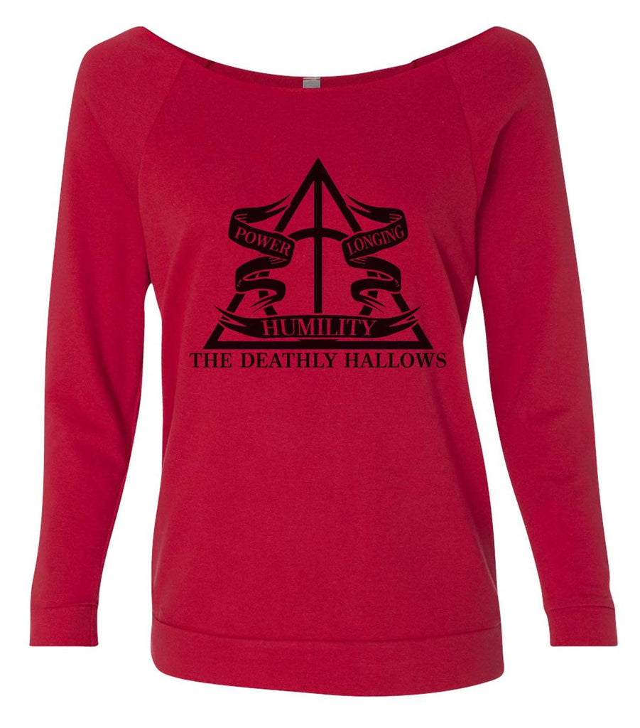 Harry Potter The Deathly Hallows 3/4 Sleeve Raw Edge French Terry Cut - Dolman Style Very Trendy Funny Shirt Small / Red
