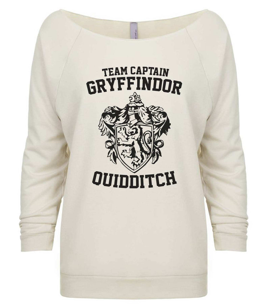 Team Captain Gryffindor Quidditch 3/4 Sleeve Raw Edge French Terry Cut - Dolman Style Very Trendy Funny Shirt Small / Beige