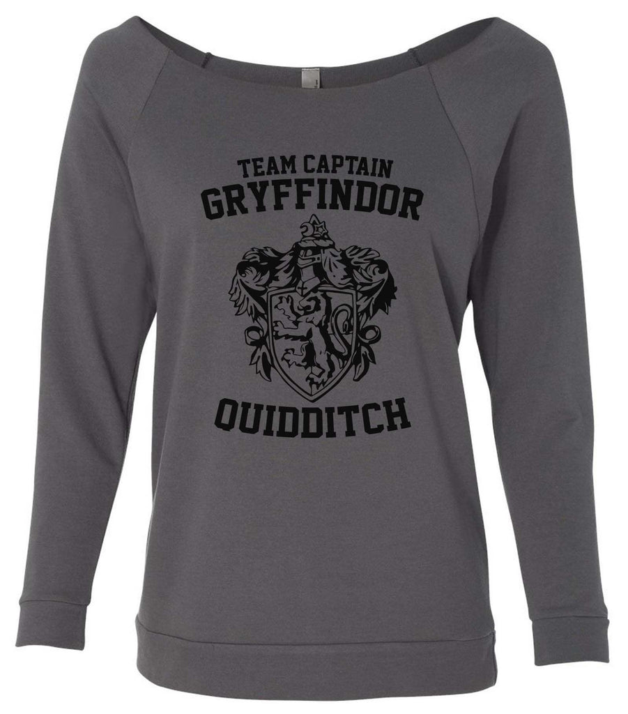 Team Captain Gryffindor Quidditch 3/4 Sleeve Raw Edge French Terry Cut - Dolman Style Very Trendy Funny Shirt Small / Charcoal Dark Gray