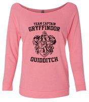 Team Captain Gryffindor Quidditch 3/4 Sleeve Raw Edge French Terry Cut - Dolman Style Very Trendy Funny Shirt Small / Pink