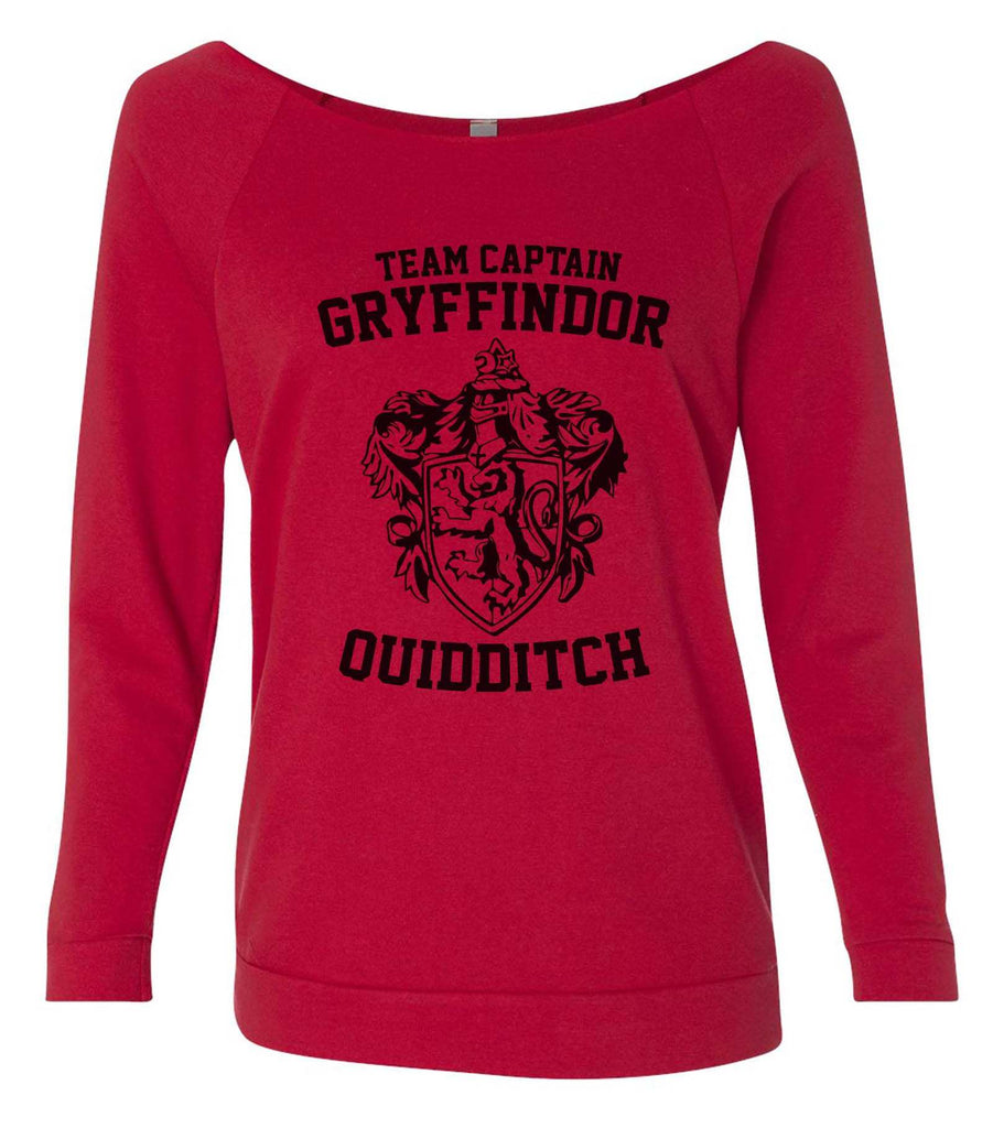 Team Captain Gryffindor Quidditch 3/4 Sleeve Raw Edge French Terry Cut - Dolman Style Very Trendy Funny Shirt Small / Red