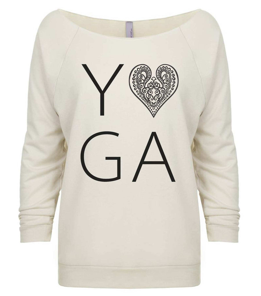 Heart I Love Yoga 3/4 Sleeve Raw Edge French Terry Cut - Dolman Style Very Trendy Funny Shirt Small / Beige