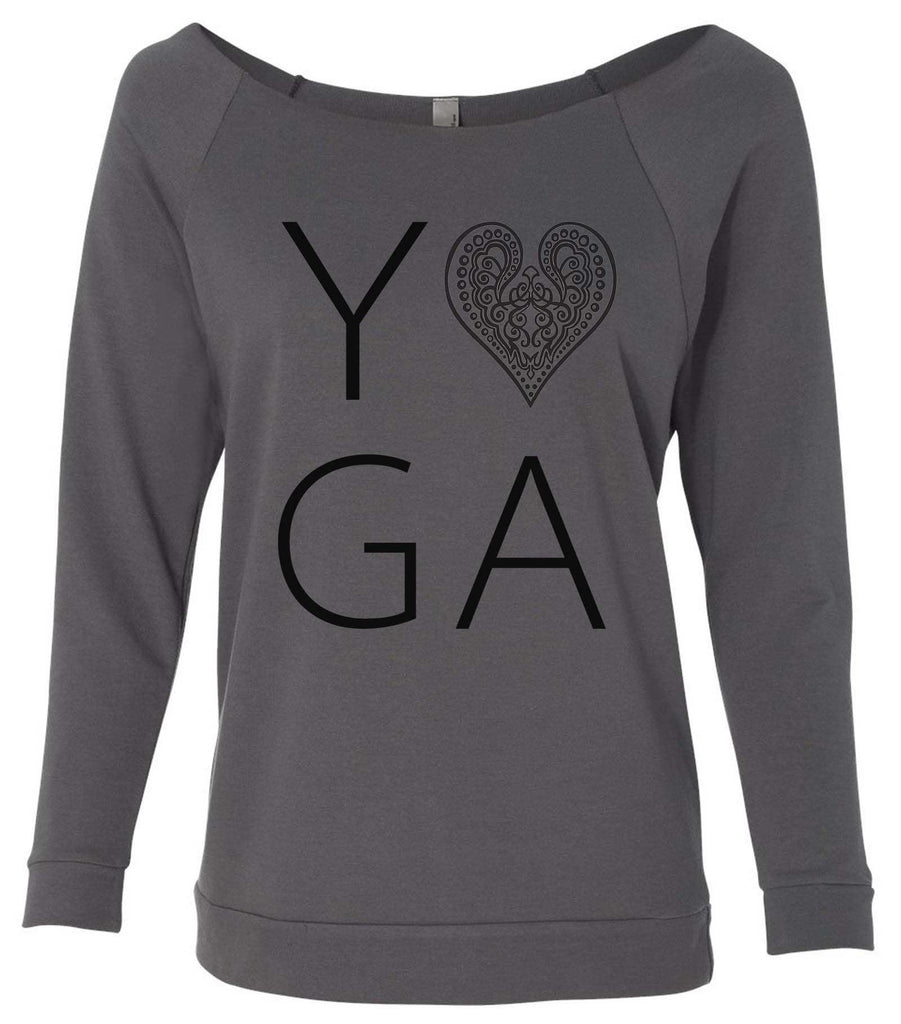 Heart I Love Yoga 3/4 Sleeve Raw Edge French Terry Cut - Dolman Style Very Trendy Funny Shirt Small / Charcoal Dark Gray