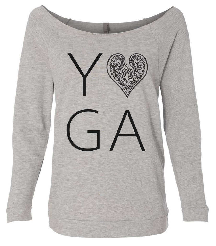 Heart I Love Yoga 3/4 Sleeve Raw Edge French Terry Cut - Dolman Style Very Trendy Funny Shirt Small / Grey