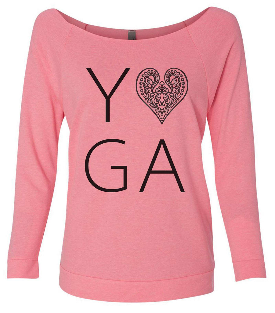 Heart I Love Yoga 3/4 Sleeve Raw Edge French Terry Cut - Dolman Style Very Trendy Funny Shirt Small / Pink