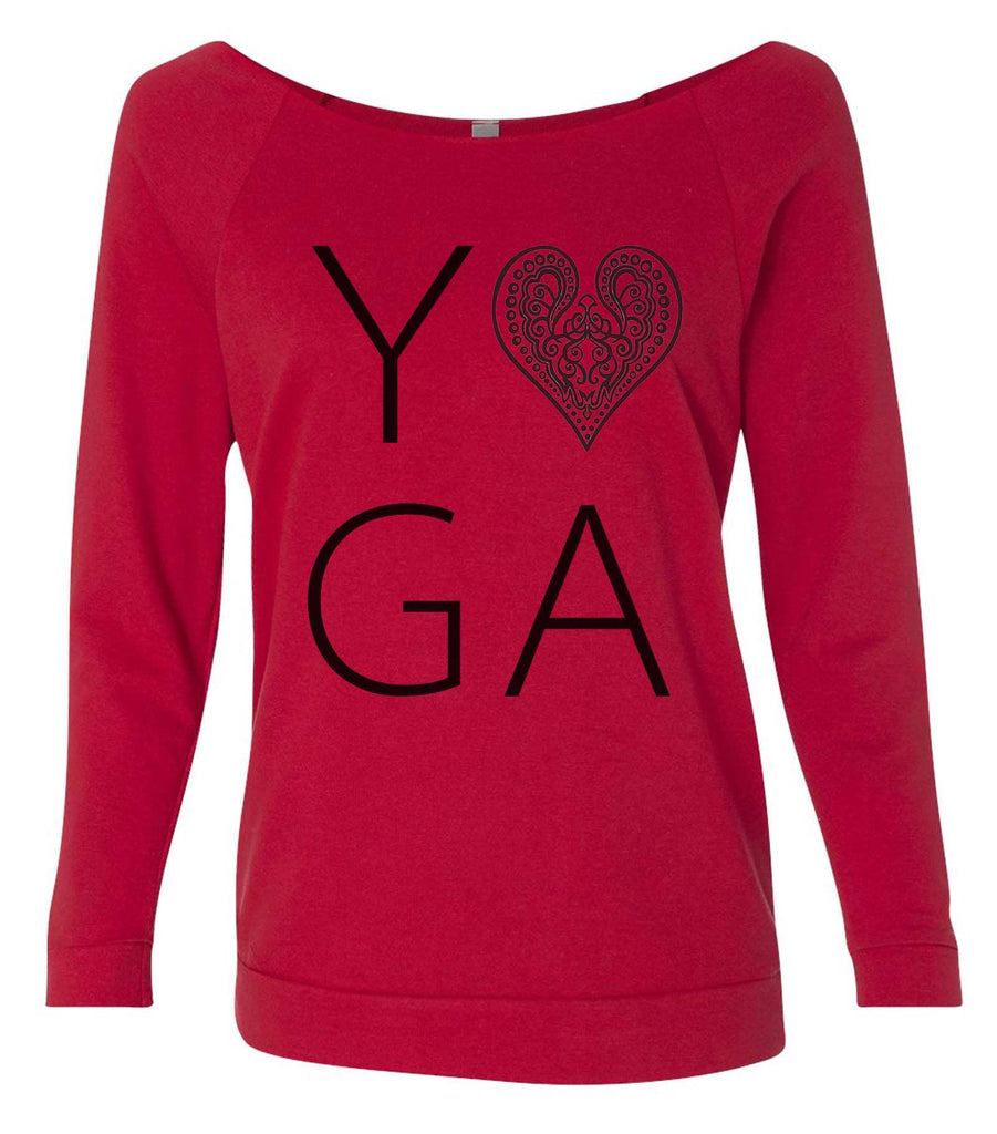 Heart I Love Yoga 3/4 Sleeve Raw Edge French Terry Cut - Dolman Style Very Trendy Funny Shirt Small / Red