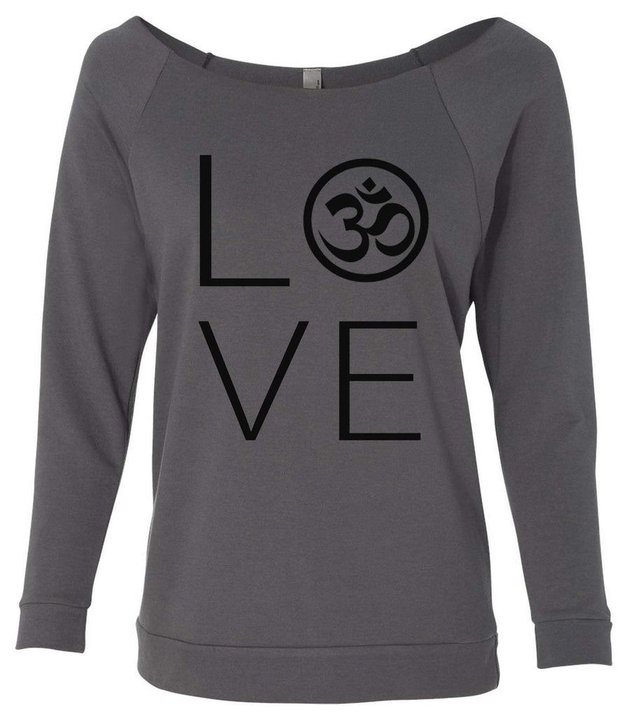 Heart I Love Ohm Yoga 3/4 Sleeve Raw Edge French Terry Cut - Dolman Style Very Trendy
