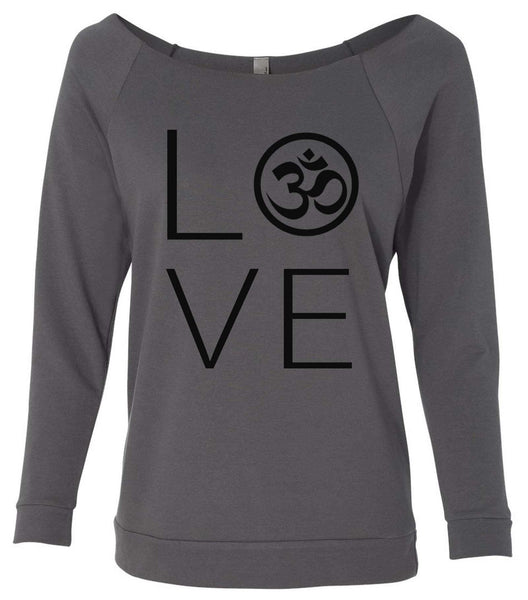 Heart I Love Ohm Yoga 3/4 Sleeve Raw Edge French Terry Cut - Dolman Style Very Trendy Funny Shirt Small / Charcoal Dark Gray