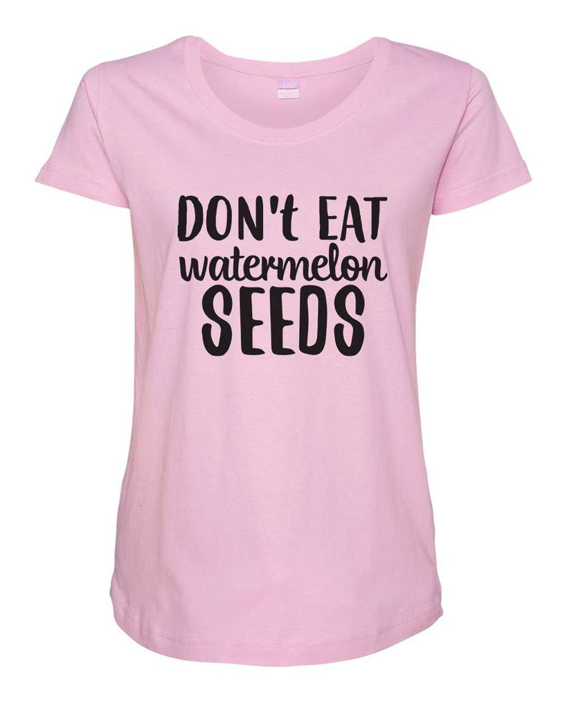 Womens Maternity TShirts - Don't Eat Watermelons Seeds - Pregnancy Tee - 2232 Funny Shirt Small / Light Pink