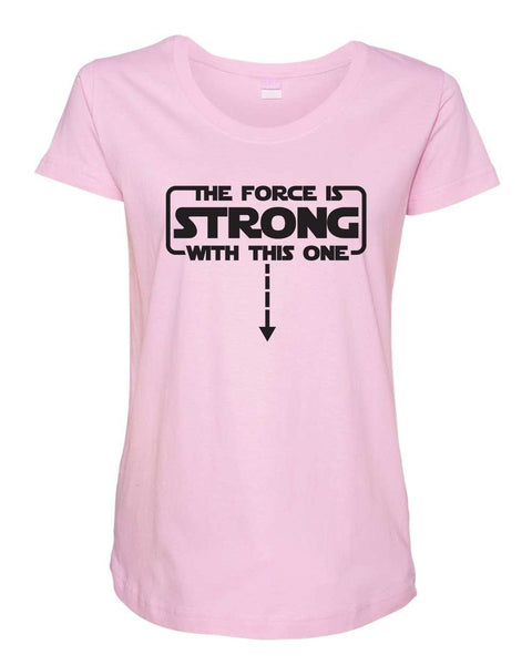 Womens Maternity TShirts - The Force Is Strong With This One - Pregnancy Tee - 2236 Funny Shirt Small / Light Pink