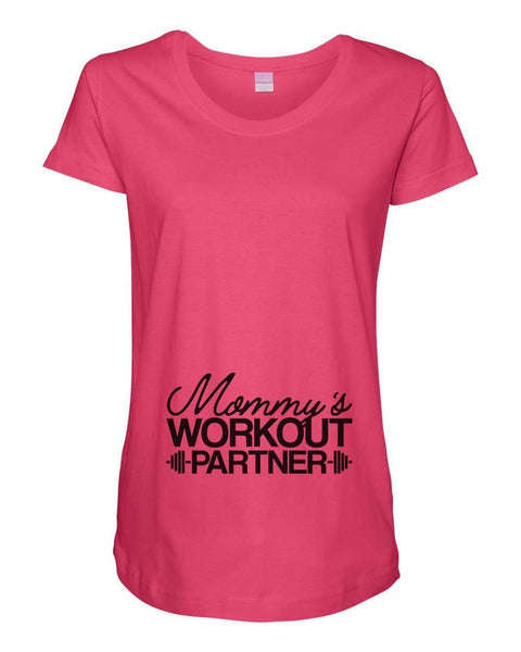 Womens Maternity TShirts - Mommy's Workout Partner - Pregnancy Tee - 2237 Funny Shirt Small / Hot Pink