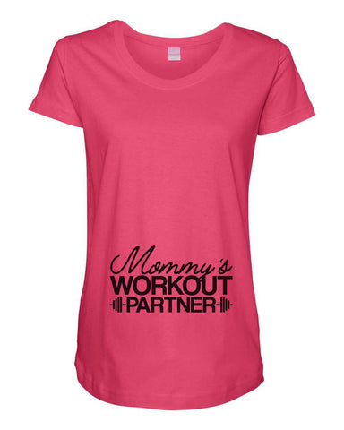 Womens Maternity TShirts - Mommy's Workout Partner - Pregnancy Tee - 2237