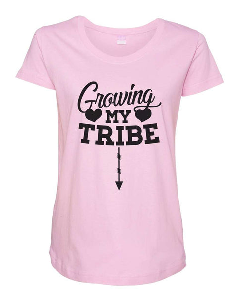 Womens Maternity TShirts - Growing my tribe - Pregnancy Tee - 2239 Funny Shirt Small / Light Pink