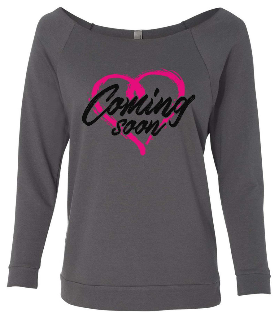 Coming Soon 3/4 Sleeve Raw Edge French Terry Cut - Dolman Style Very Trendy Funny Shirt Small / Charcoal Dark Gray