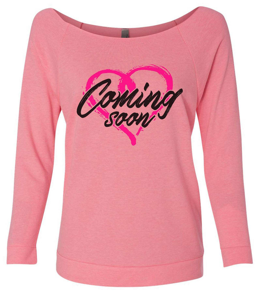 Coming Soon 3/4 Sleeve Raw Edge French Terry Cut - Dolman Style Very Trendy Funny Shirt Small / Pink