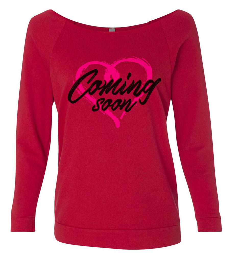 Coming Soon 3/4 Sleeve Raw Edge French Terry Cut - Dolman Style Very Trendy Funny Shirt Small / Red