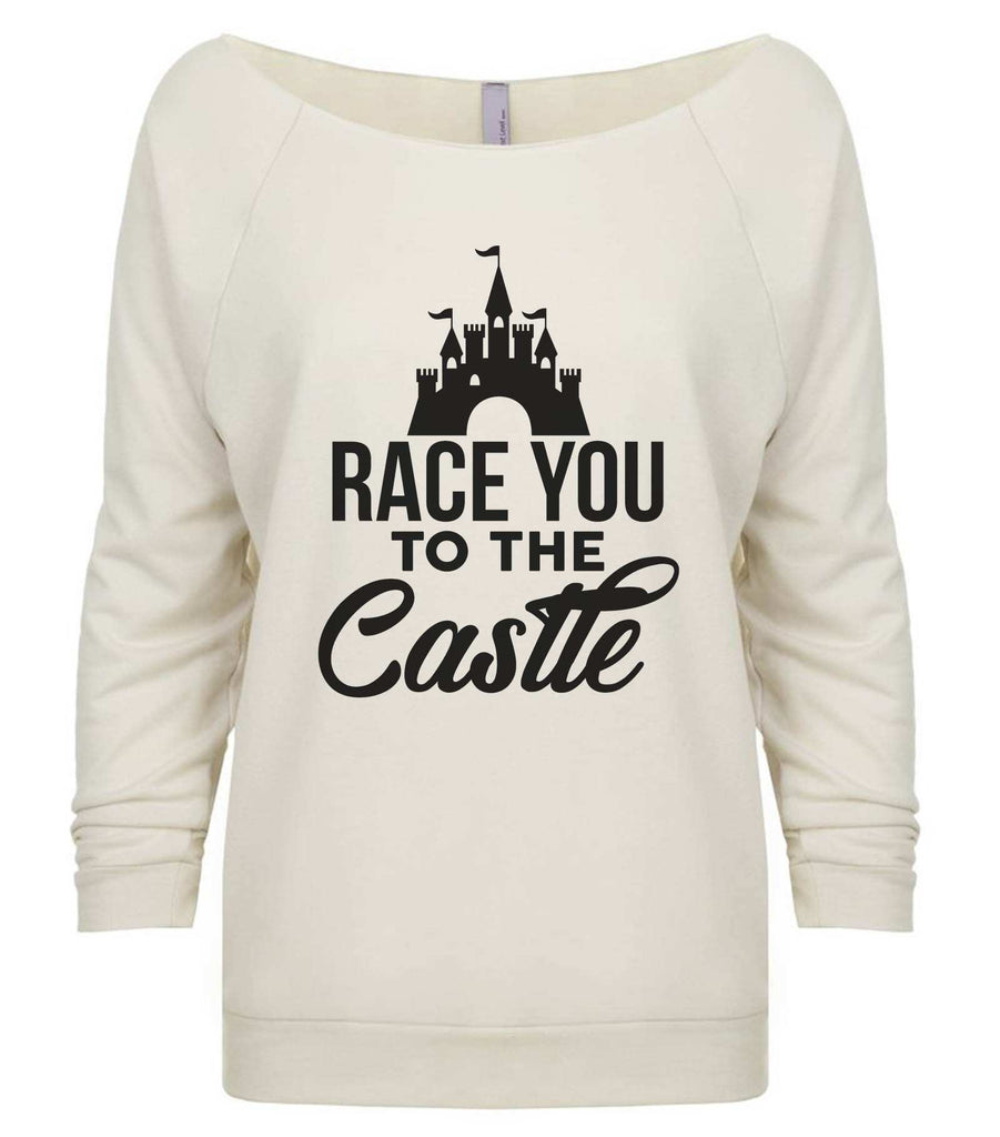 Race You To The Castle 3/4 Sleeve Raw Edge French Terry Cut - Dolman Style Very Trendy Funny Shirt Small / Beige