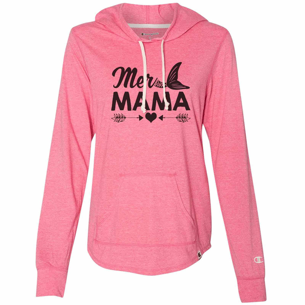 Mer Mama - Womens Champion Brand Hoodie - Hooded Sweatshirt Funny Shirt Small / Pink
