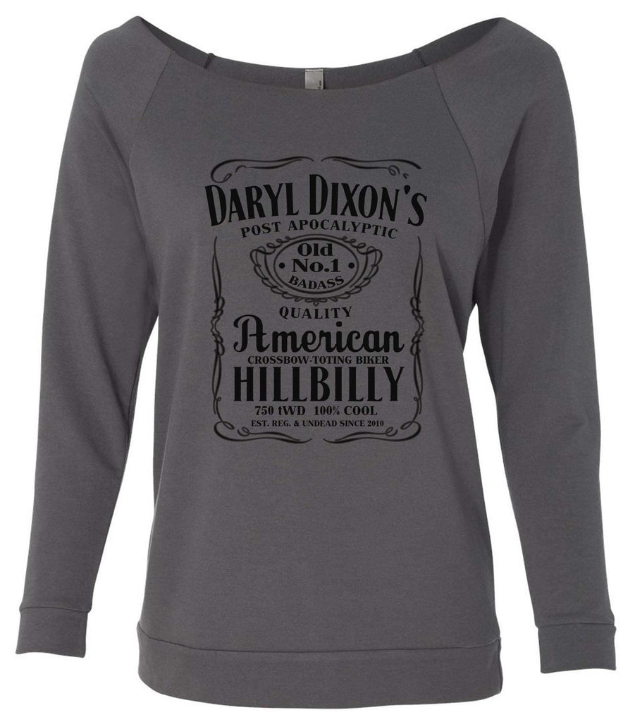 Daryl Dixon's American Hillbilly 3/4 Sleeve Raw Edge French Terry Cut - Dolman Style Very Trendy Funny Shirt Small / Charcoal Dark Gray