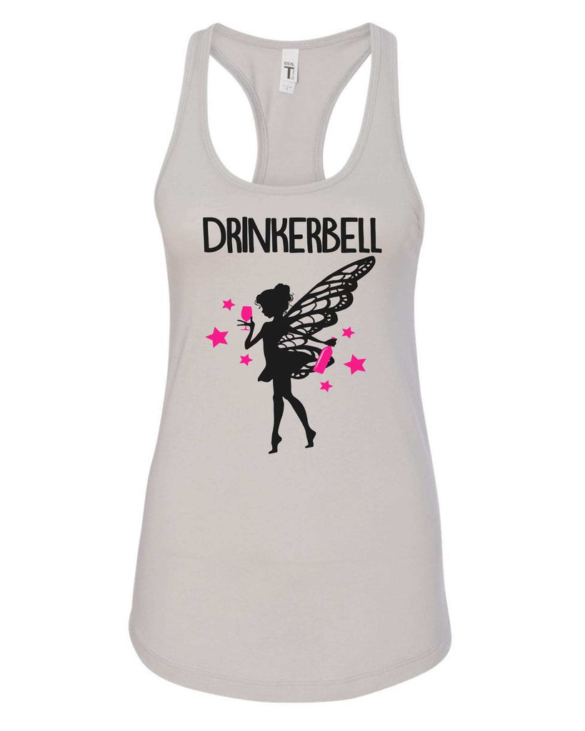 Womens Drinkerbell Grapahic Design Fitted Tank Top Funny Shirt Small / Silver
