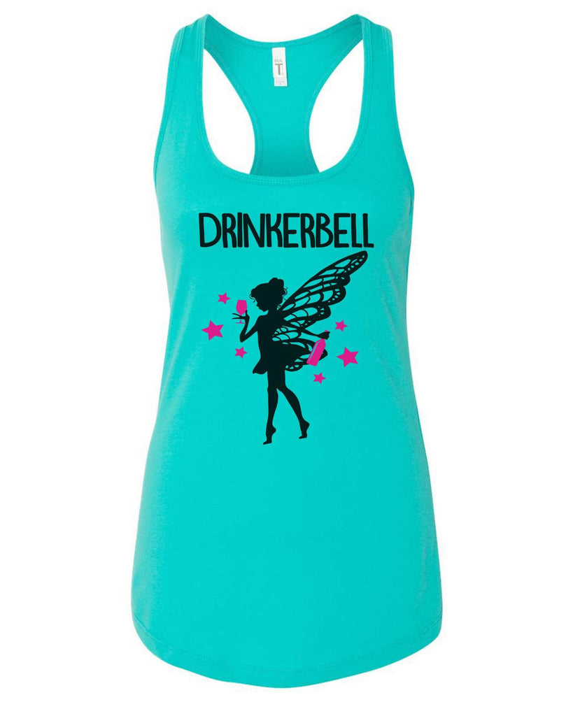 Womens Drinkerbell Grapahic Design Fitted Tank Top Funny Shirt Small / Sky Blue