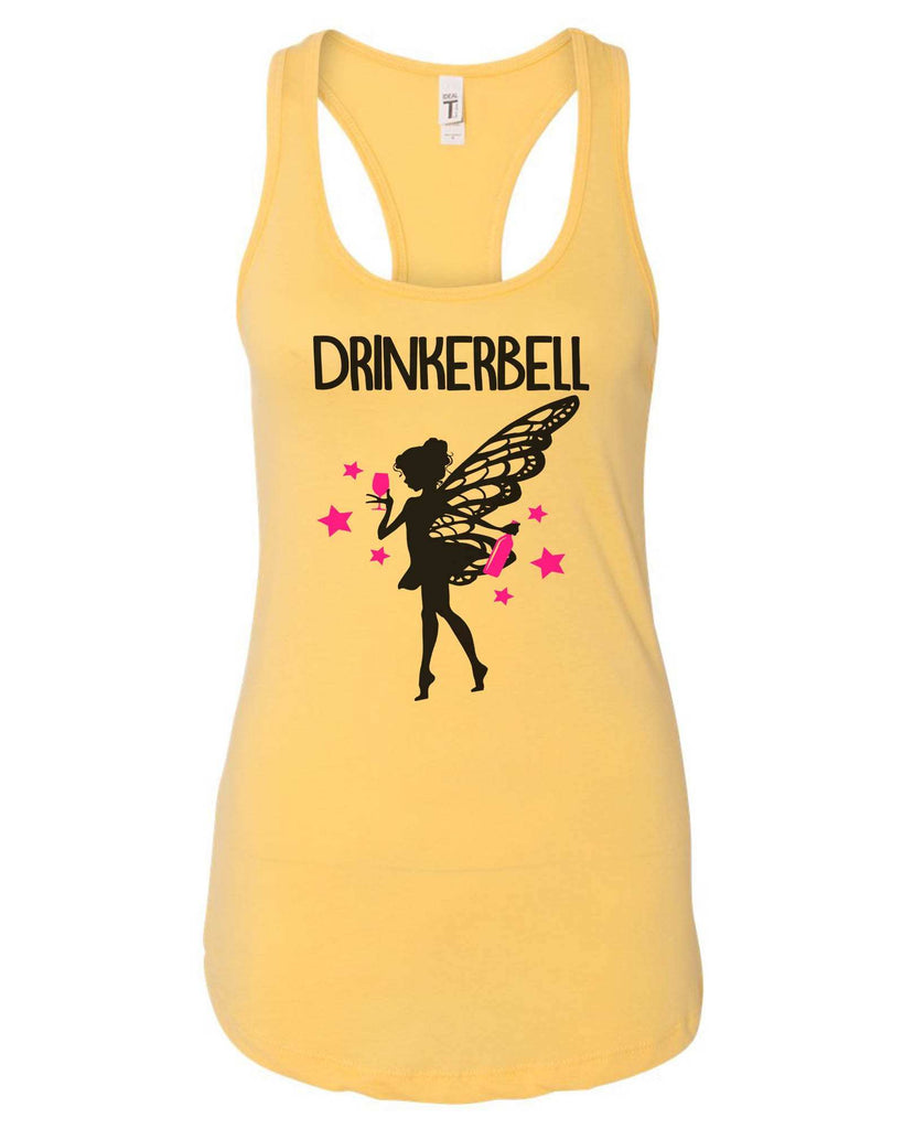 Womens Drinkerbell Grapahic Design Fitted Tank Top Funny Shirt Small / Yellow