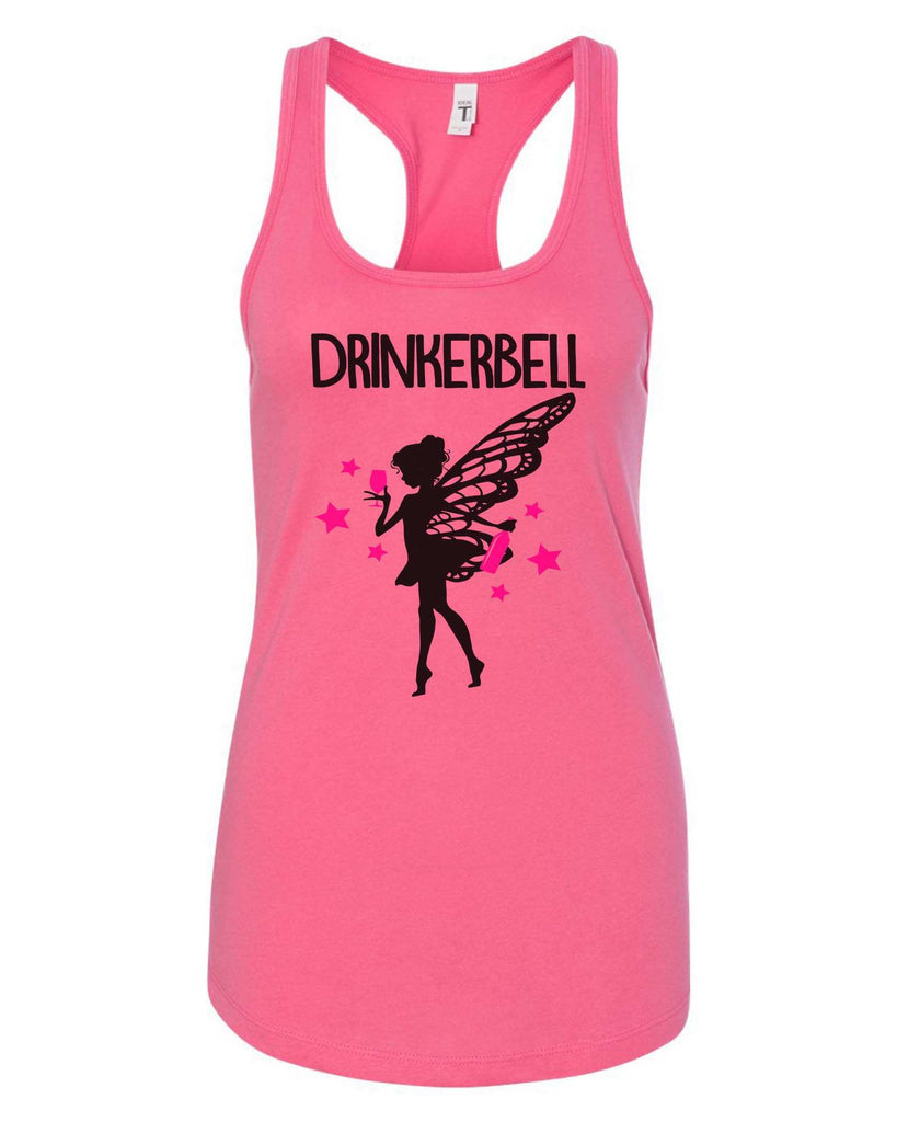 Womens Drinkerbell Grapahic Design Fitted Tank Top Funny Shirt Small / Fuchsia