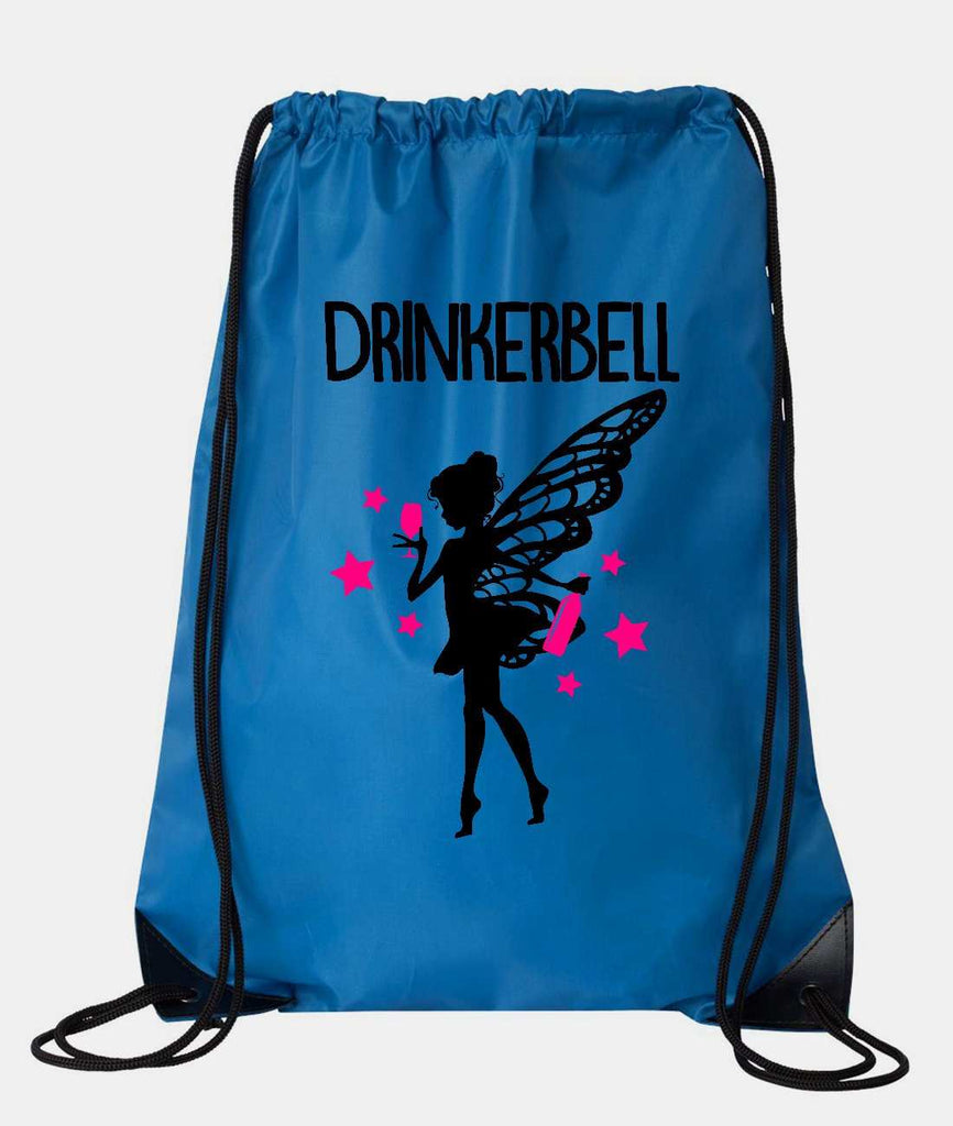 "Drawstring Gym Bag  ""Drinkerbell""  Funny Workout Squatting Gift Funny Shirt Blue Nylon Bag 14"" x 18"""