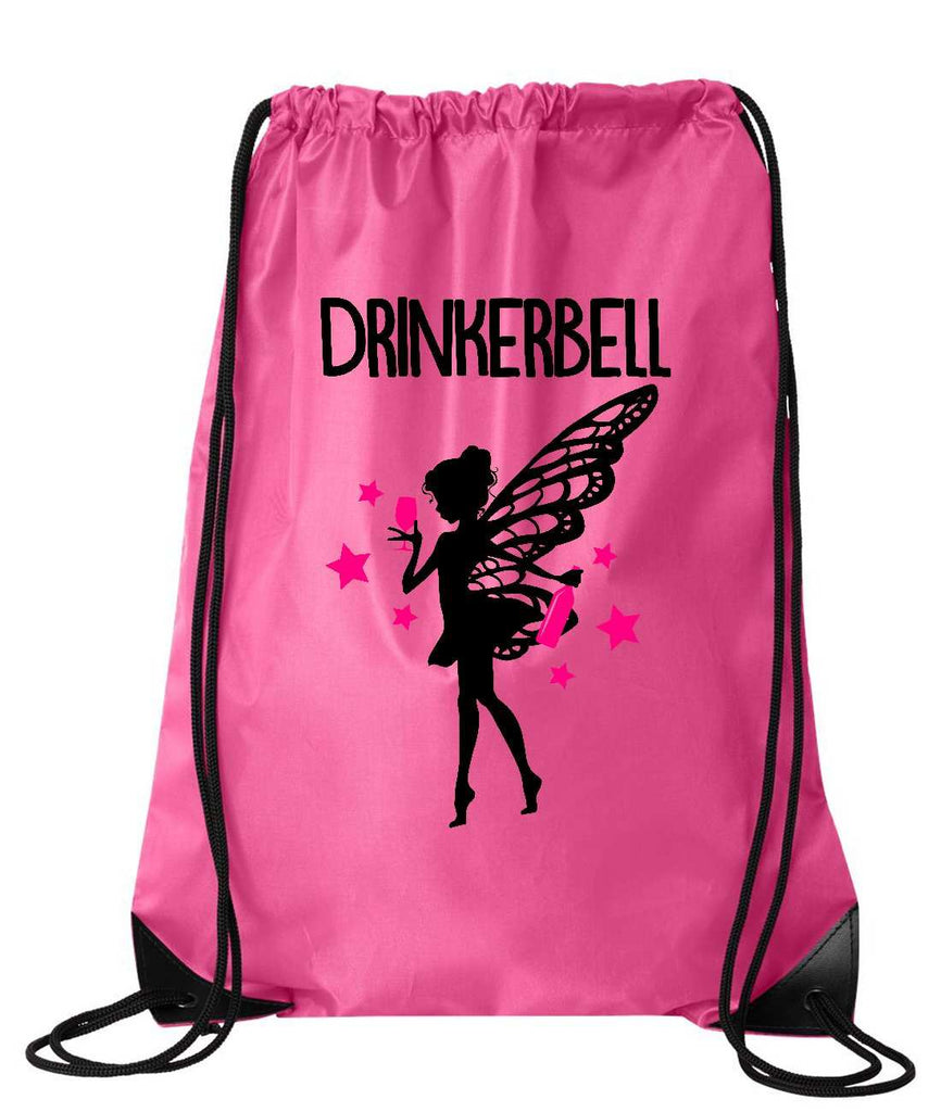 "Drawstring Gym Bag  ""Drinkerbell""  Funny Workout Squatting Gift Funny Shirt Pink Nylon Bag 14"" x 18"""