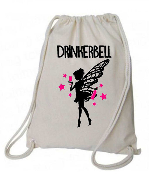 "Drawstring Gym Bag  ""Drinkerbell""  Funny Workout Squatting Gift Funny Shirt Natural Canvas Bag 14"" x 18"""