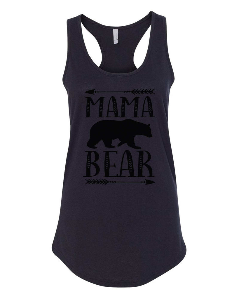 Womens Mama Bear Grapahic Design Fitted Tank Top Funny Shirt Small / Black