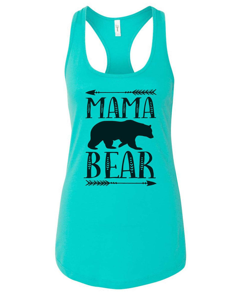 Womens Mama Bear Grapahic Design Fitted Tank Top Funny Shirt Small / Sky Blue