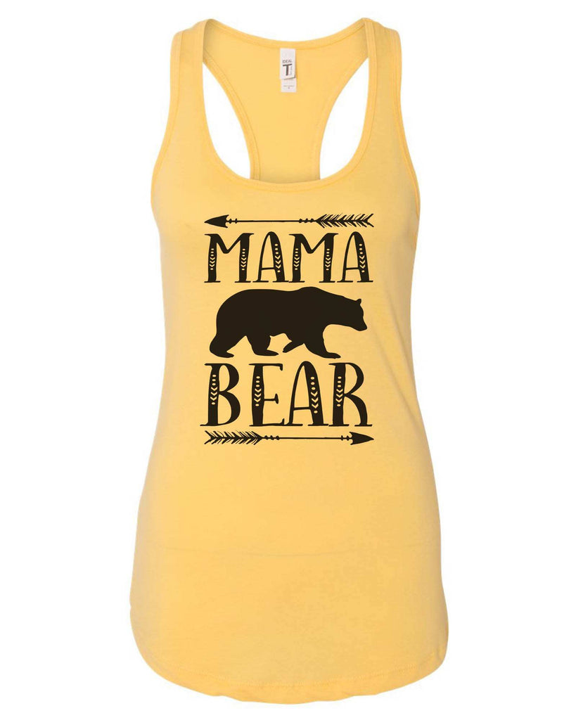 Womens Mama Bear Grapahic Design Fitted Tank Top Funny Shirt Small / Yellow