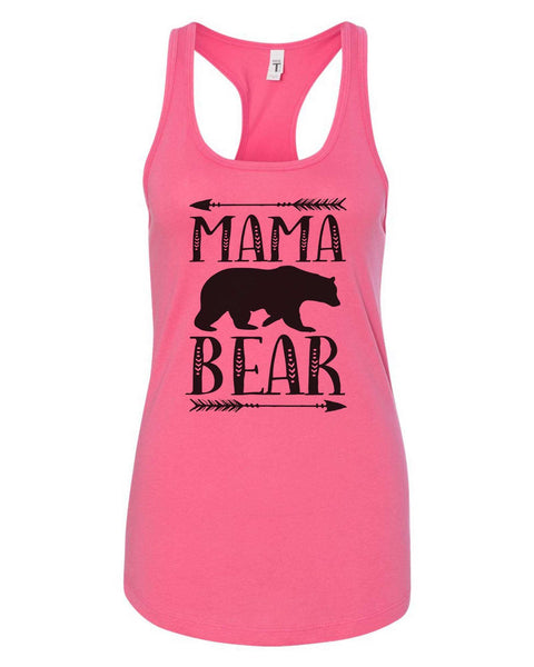 Womens Mama Bear Grapahic Design Fitted Tank Top Funny Shirt Small / Fuchsia