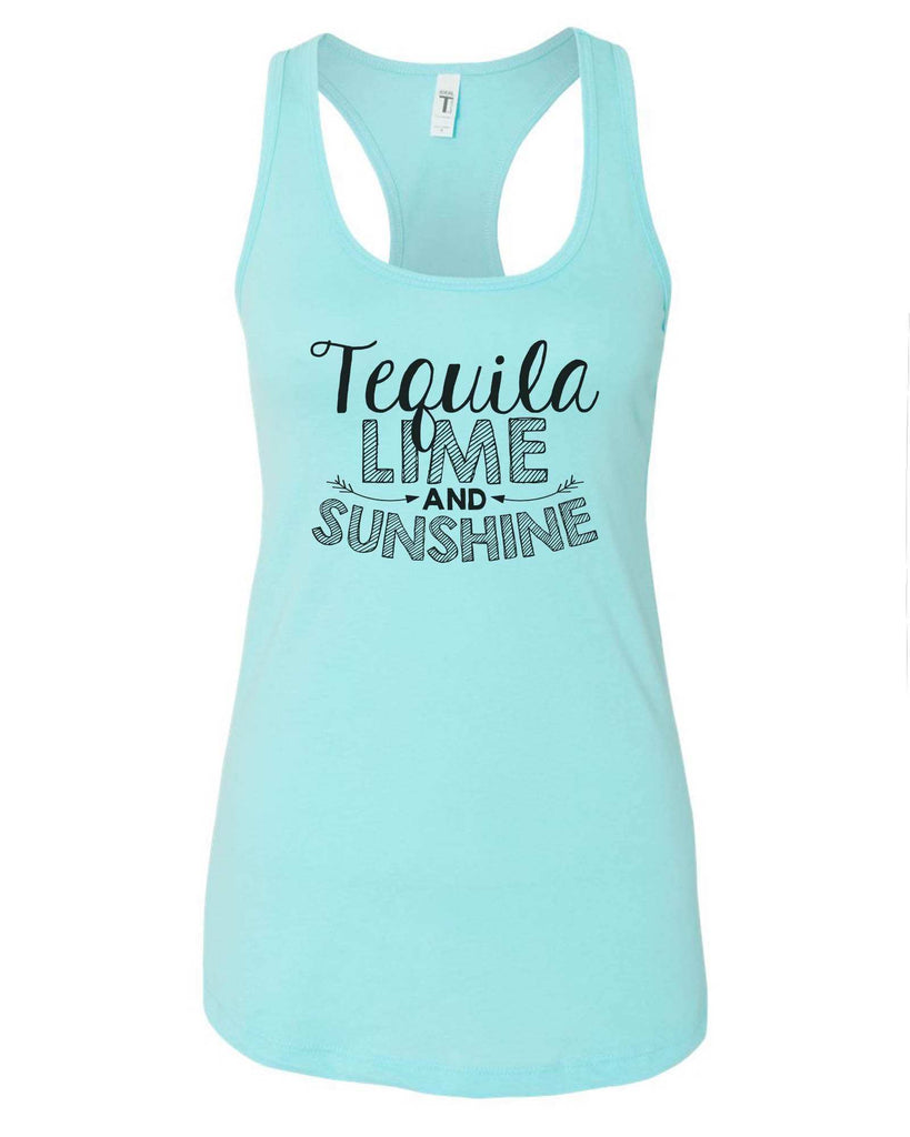 Womens Tequila Lime And Sunshine Grapahic Design Fitted Tank Top Funny Shirt Small / Cancun
