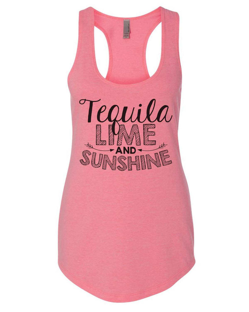 Tequila Lime And Sunshine Womens Workout Tank Top Funny Shirt Small / Heather Pink
