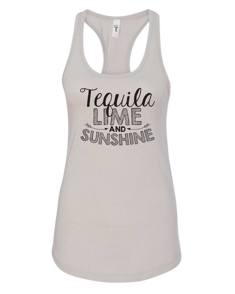 Womens Tequila Lime And Sunshine Grapahic Design Fitted Tank Top Funny Shirt Small / Silver