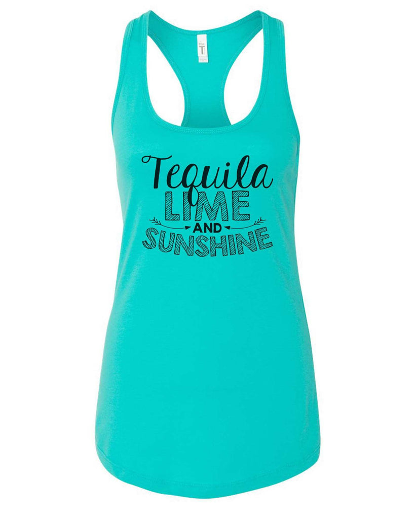 Womens Tequila Lime And Sunshine Grapahic Design Fitted Tank Top Funny Shirt Small / Sky Blue