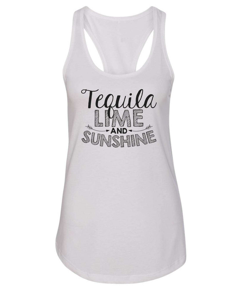 Womens Tequila Lime And Sunshine Grapahic Design Fitted Tank Top Funny Shirt Small / White