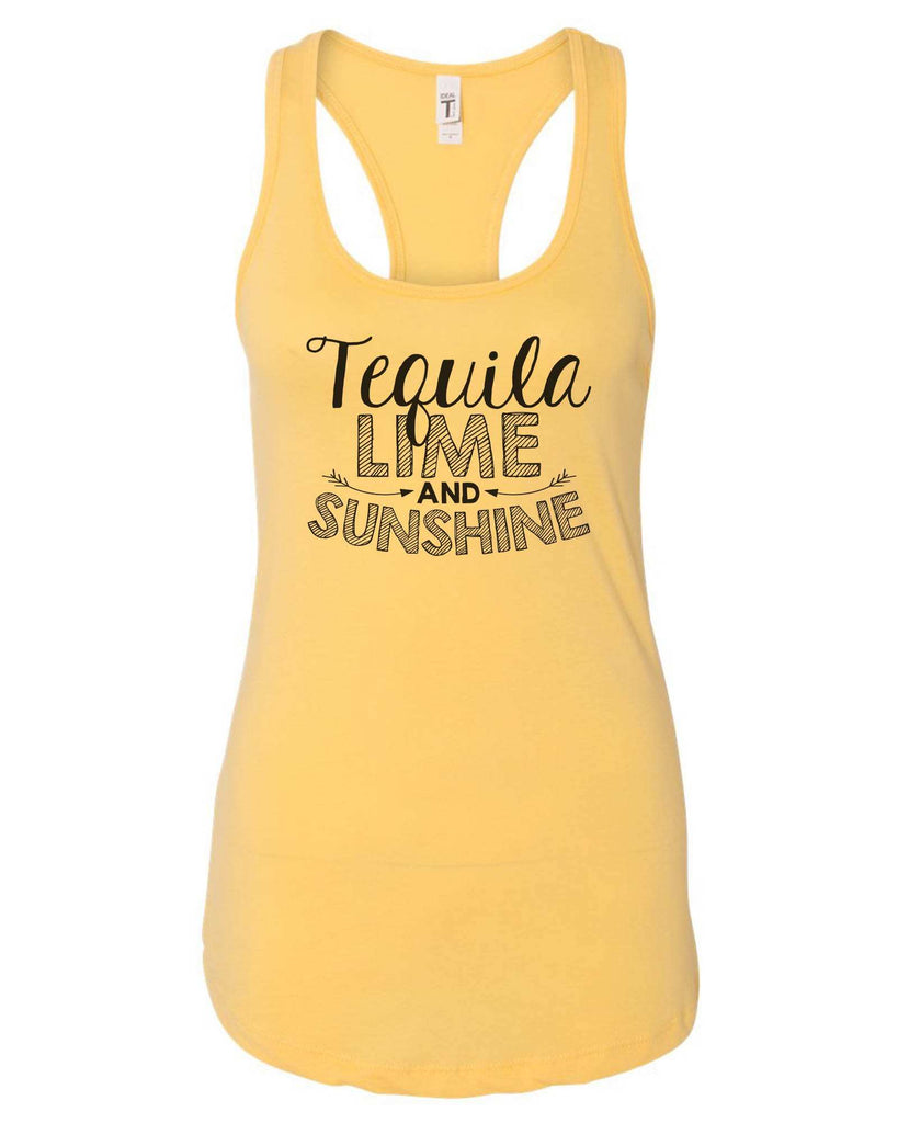 Womens Tequila Lime And Sunshine Grapahic Design Fitted Tank Top Funny Shirt Small / Yellow