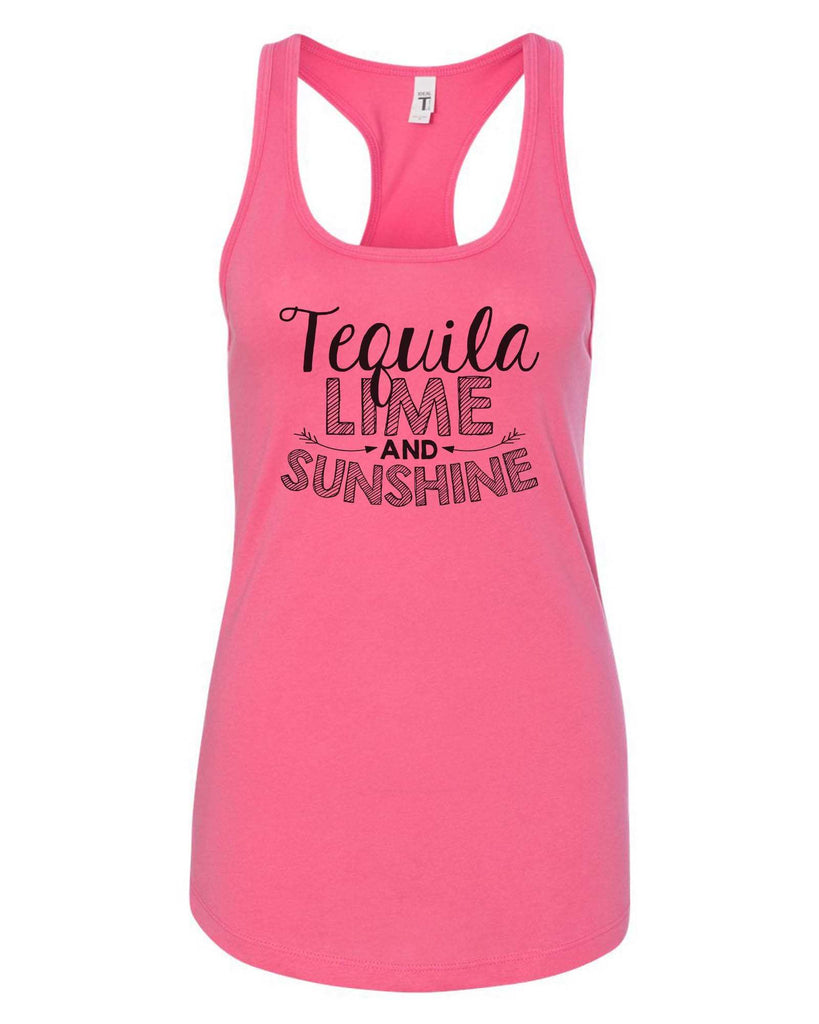 Womens Tequila Lime And Sunshine Grapahic Design Fitted Tank Top Funny Shirt Small / Fuchsia