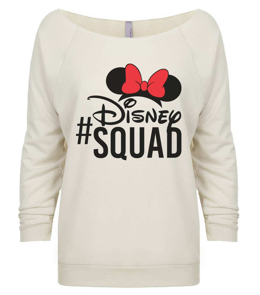 Disney Squad 3/4 Sleeve Raw Edge French Terry Cut - Dolman Style Very Trendy Funny Shirt Small / Beige